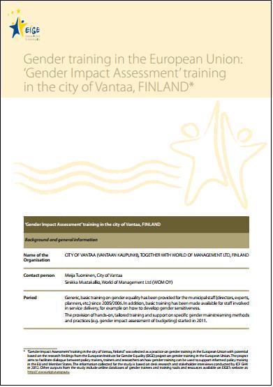 Sukupuolivaikutusten arviointi koulutusprosessi - hyvä käytäntö Vantaa ja WoM