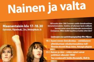 """Työväenopiston luentosarja """"Nainen ja Valta"""" käsittelee naisten poliittisia oikeuksia"""